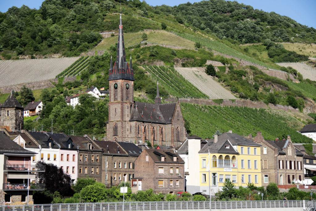 Do you love castles? Then you have to book a Rhine River Cruise. Cruising the Romantic Rhine is a great way to see these beautiful Medieval castles and vineyards. #rhinerivercruise #rhinevalley #germany #germancastles #castles