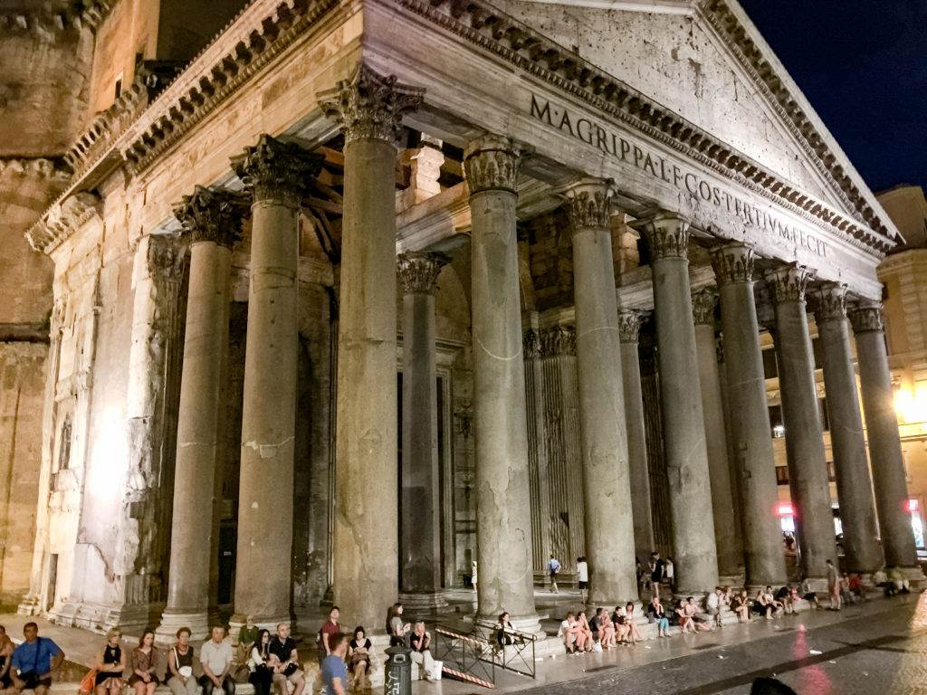 The beautiful exterior columns of the Pantheon in Rome
