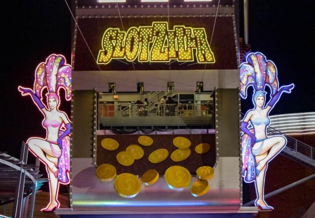 large slot machine that reads Slotzilla on top
