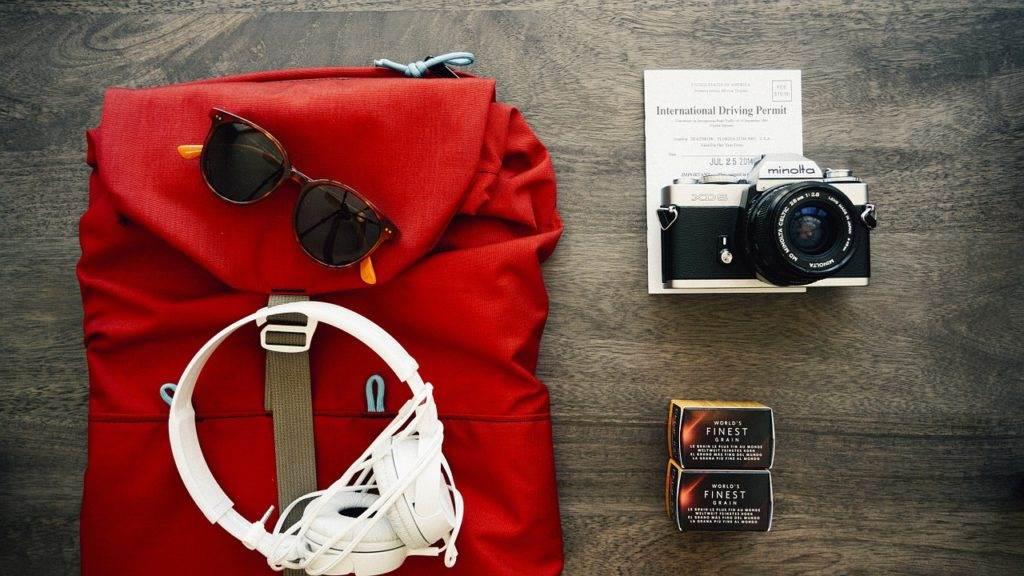 backpack and headphones