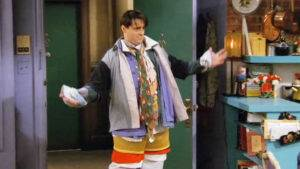 Joey wearing all of Chandler's clothes