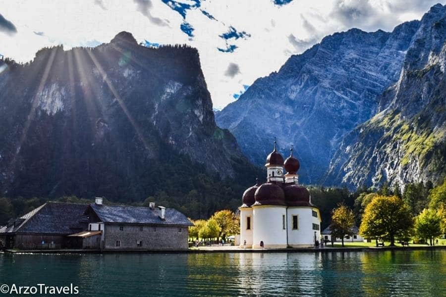 Lake Königssee is a clear lake in Germany and a great day trip from Munich