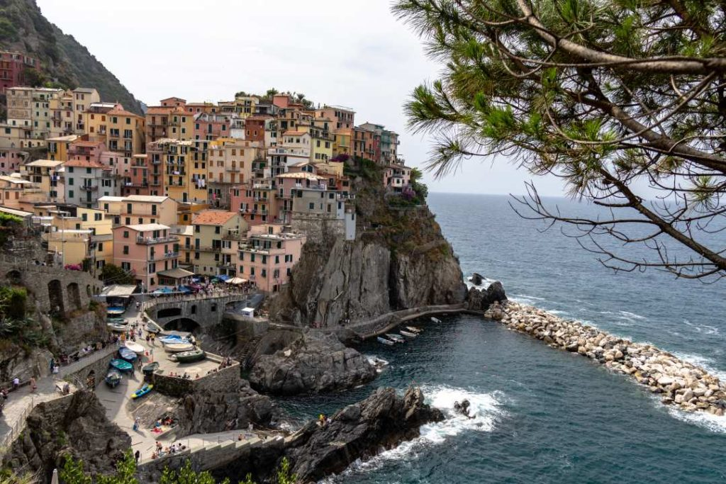 view of hillside town by the ocean-couples bucket list and Where to Stay in Cinque Terre