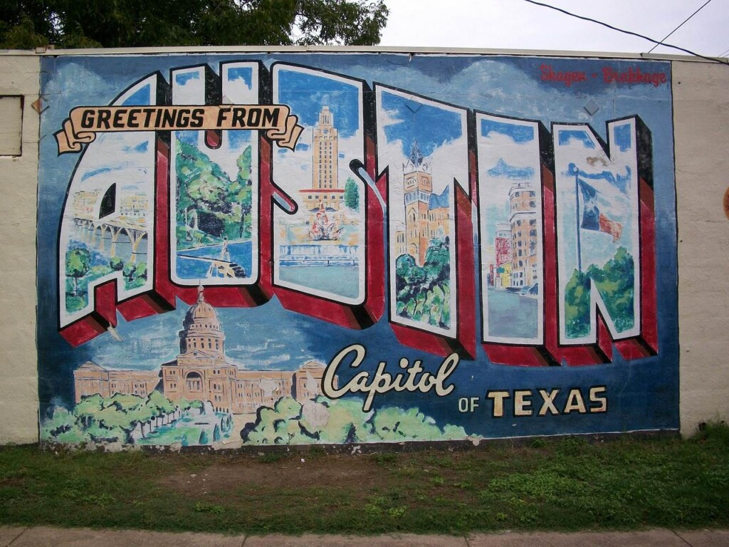 Greetings from Austin sign