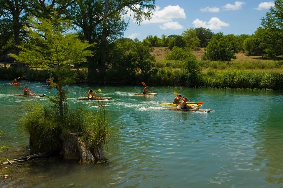 kayaks in river