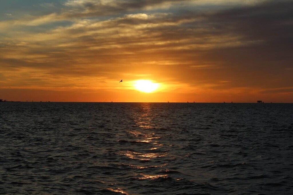 sunset over lake at Rockport Texas