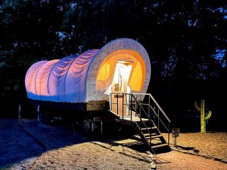 unique places to stay in Texas-covered wagon