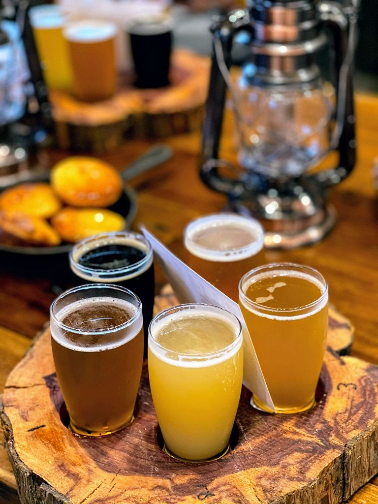 beer flight from unique places to stay in Texas-Silver Spur resort