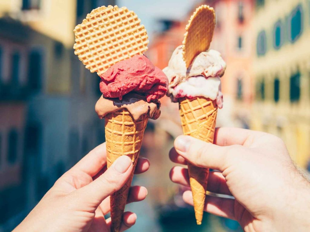 two cones of gelato