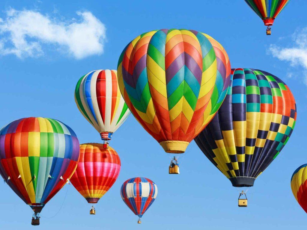 hot air balloons in the air