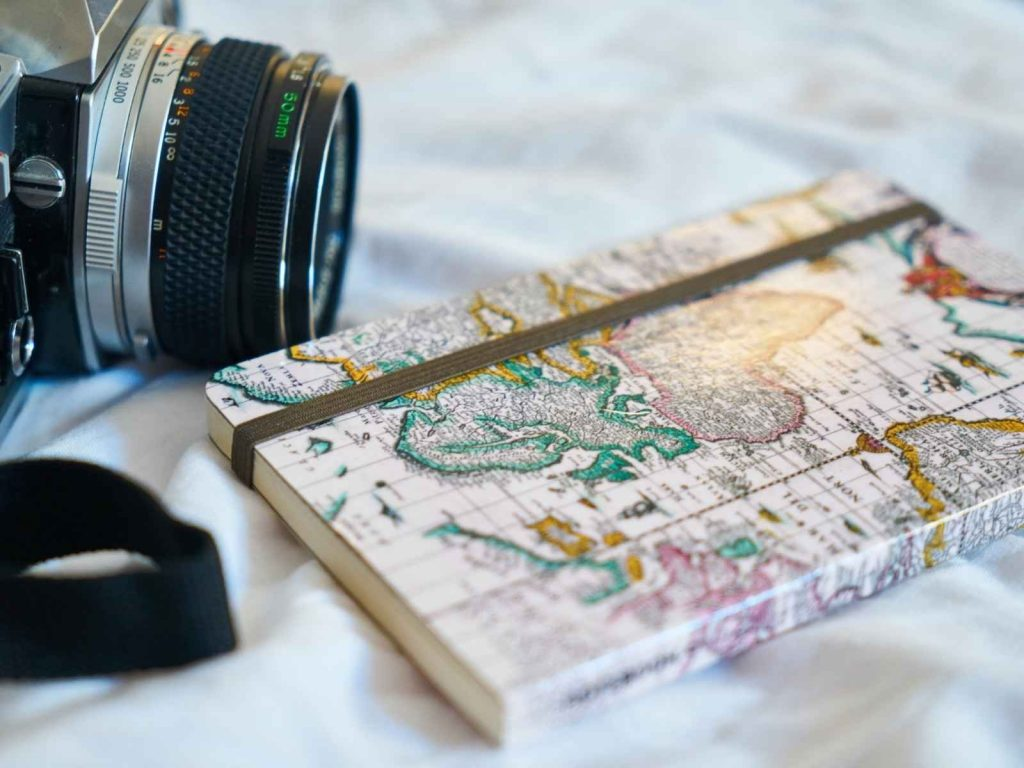 travel journal and camera
