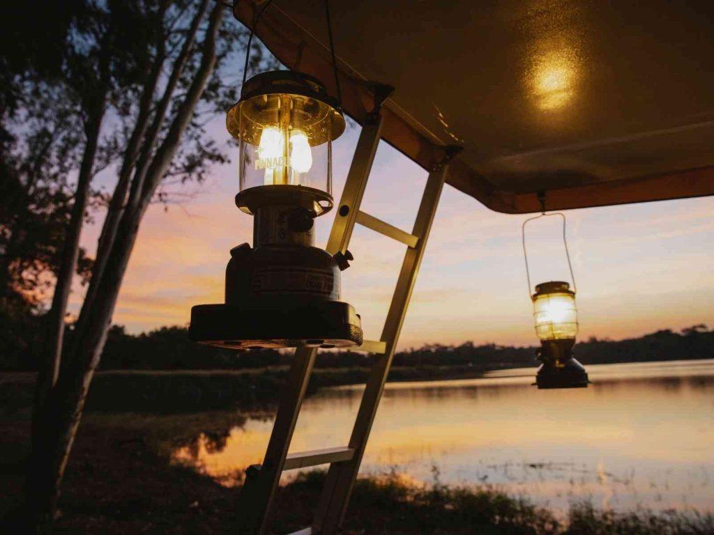 lanterns by a lake-glamping