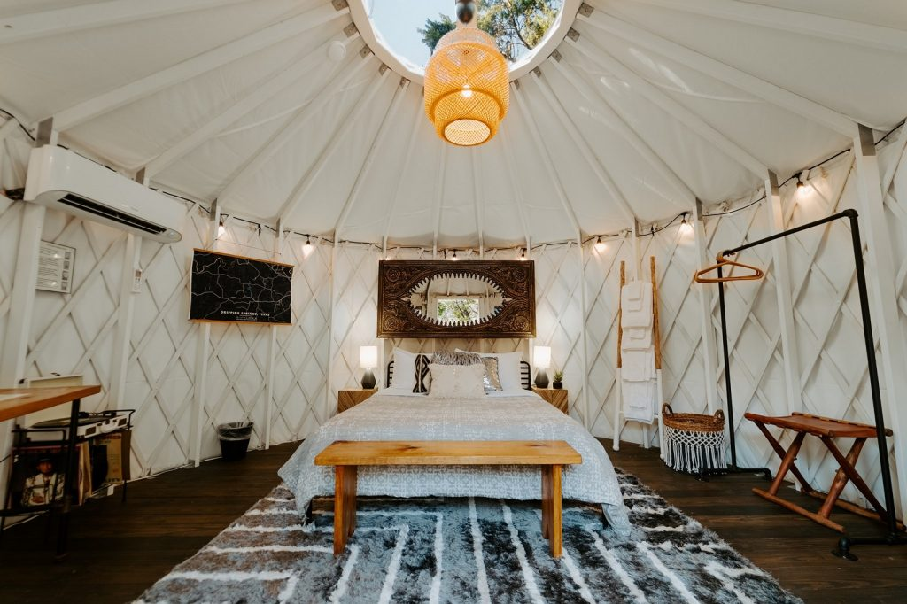 inside of tent at Lucky Arrow