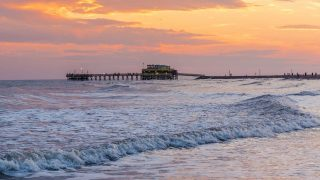 sunset over ocean in Galveston