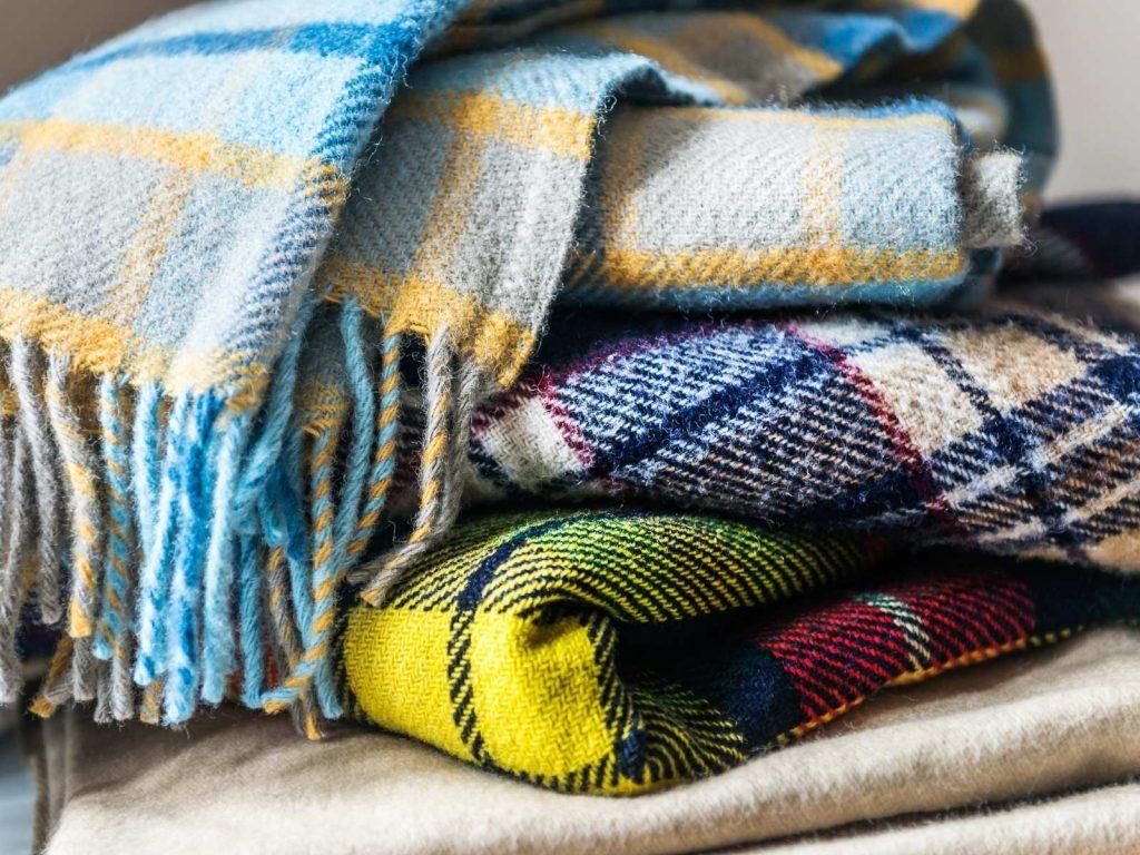 3 plaid blankets